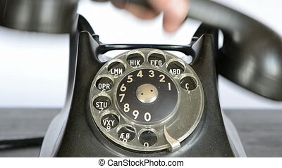 calling with retro phone - calling with black retro phone