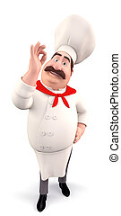 Funny chef with best luck - 3D illustration of Happy Funny...