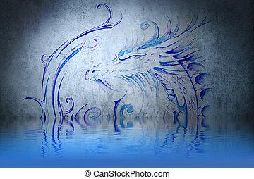 medieval, dragón, tatuaje, azul, pared, agua,...