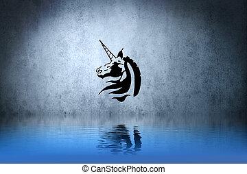 bleu, tatouage, reflet, sur, Illustration, eau, mur,...