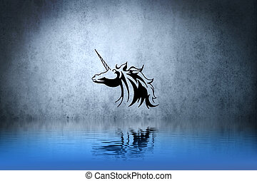 Tattoo small unicorn with water reflection. Illustration...