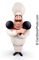 Happy chef with pan