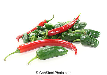 fresh green Pimientos with red chilis