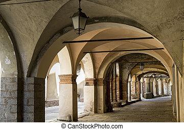 Piazzo di Biella, portico - Piazzo Biella, Piedmont, Italy -...