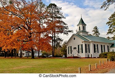 Country church in Autumn -2 - White country church with...