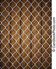 Wooden texture with chain fence.