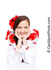 girl in traditional clothes - beautiful girl in ukrainian...