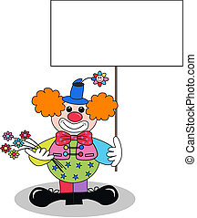 a clown with a placard