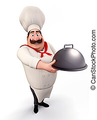 Chef with big dish in his hand - 3D illustration of CHEF...