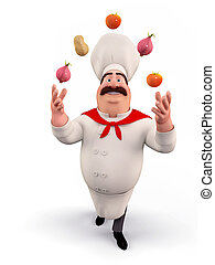 Chef playing with vegetables - 3D illustration of happy Chef...