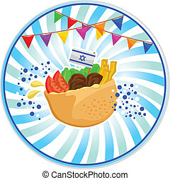 falafel in pita - falafel Israeli food with the Israeli flag...