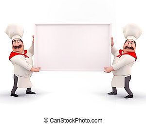 Chef holding sign - 3D illustration of Happy Chef holding...