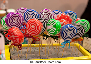 Spiral colored lollipops