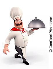 Chef, sonriente, olla