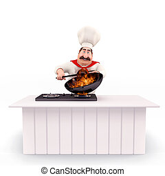 Happy Chef cooking vegetables - 3D illustration of Happy...