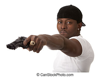 Young thug with a gun - Image of  young thug with a gun