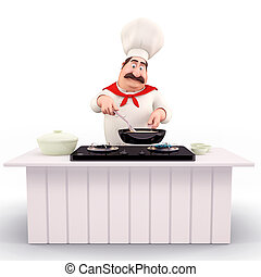 smiling Chef cooking vegetables - 3D illustration of Happy...