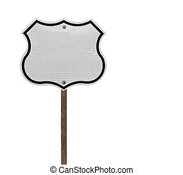 Tall Blank Isolated Interstate Sign - Tall blank isolated...