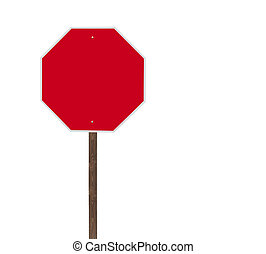 Tall Blank Isolated Stop Sign on Wood Post - Tall blank...