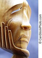madeira, escultura, expresses, dor, decepção
