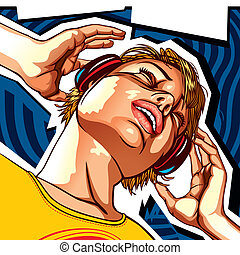 Girl with headphones template - Girl with headphones. Flyer...