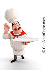 chef holding noodles plate - 3D illustration of Happy chef...