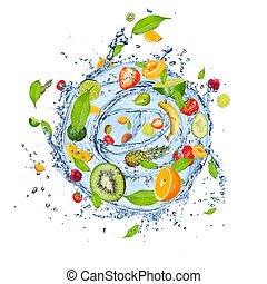 Fruit splash - Fruit mix in water splash, isolated on white...
