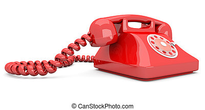 Red Telephone - A red, classic Telephone 3D rendered...