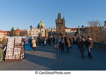 Charles bridge,Prague - PRAGUE,CZECH REPUBLICH-NOV12:...