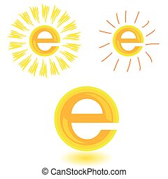 sun illustration in yellow with letter e