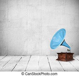 Vintage interior - Old gramophone in the vintage room