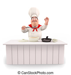 Happy chef with pan and table