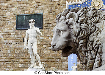 Man and Beast - Michelangelos David and the lion in Piazza...