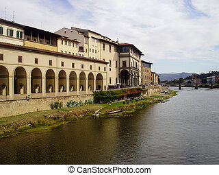The Arno River in Florence, Italy.