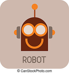 Funny Robot - vector icon - Robot Head - color vector icon...