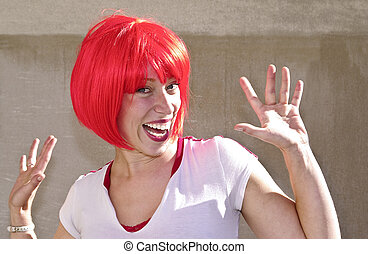 Redheaded Cutie - Young woman sporting a red bob for the...