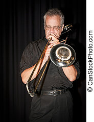 Slide Trombone - Trombonist Dave Arthur playing at the Art...