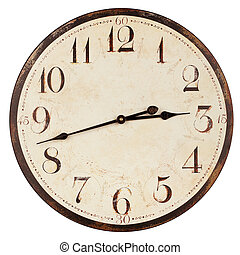 Old antique clock - Old antique wall clock isolated on white