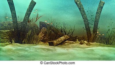 sunken ruins - an imaginary underwater scenery with sunken...
