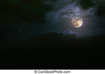 Cloudy full moon - Illustration of an interesting full moon...