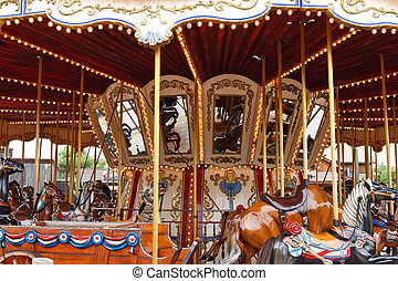 Carousel with horses Spain, park port aventura