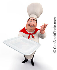 Chef holding a tray - 3D illustration of Chef holding a tray...