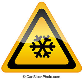 Snow warning sign on white background