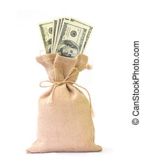 Money bag with dollars