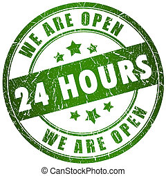 Open 24 hours stamp
