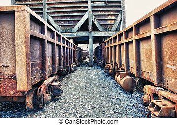 Abandoned facilities freight cars - Old trains wagon in...
