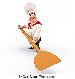 Chef carrying pizza spade - 3D illustration of Chef carrying...
