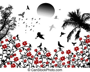 Birds flying over red flowers - Birds flying on white...