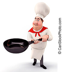 Chef holding a pan - 3D illustration of Chef holding a pan...