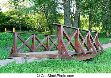 Bridge in park - Wooden Bridge in park